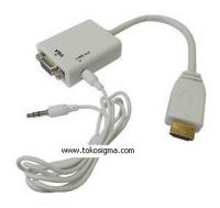 HDMI TO VGA with AUDIO CONVERTER - white - lobang audio di samping